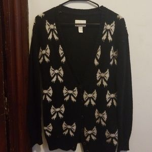 Forever21 Cardigan black with vanilla bows